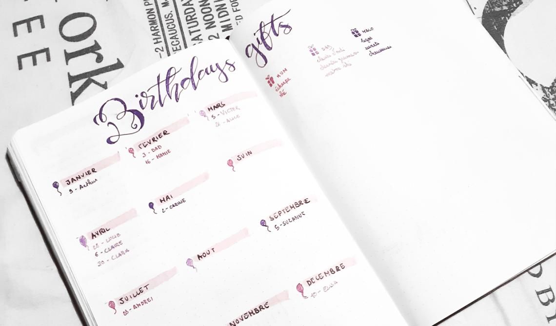 7 pages d'anniversaires pour votre Bullet journal